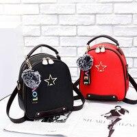 Razaly brand good quality designer small backpacks woman girl bag with fur ball small bookbag leather cute school pink mochila