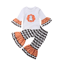 2PCS Set Newborn Kids Baby Girls Halloween Ghost Flare Long Sleeve T-shirt Tops Striped Pants Outfits 0-4Y 2019