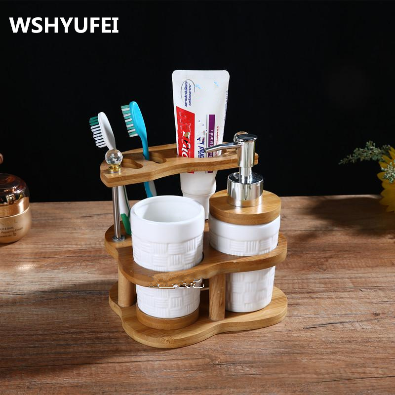 Jingdezhen ceramic bathroom accessories bamboo toothbrush holder home decoration 3pcs lot0 4pcs lot