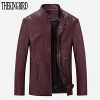 Black Youth Leisure PU leather Popular Men's Slim Jacket Spring/Autumn 2016 New Fashion Red Leather Jackets Solid Men Coat 4XL