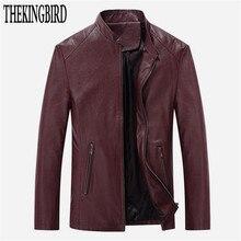Schwarz Jugend Freizeit PU leder Populären männer Dünne Jacke Frühling/Herbst 2016 New Fashion Red Leder Jacken Solide männer Mantel 4XL