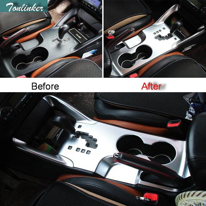 Tonlinker 3 PCS DIY font b Car b font styling ABS Gear stalls panel Decorative light