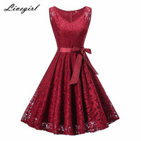 Vintage Floral Lace Pleated Dress Women Sleeveless V Neck Elegant Party Sexy Dresses Retro 50s Summer