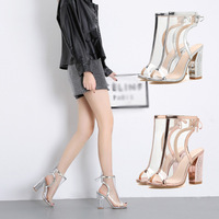 2019 new fish mouth sandals high tube transparent sexy high heel thick with fashion lace boots women.