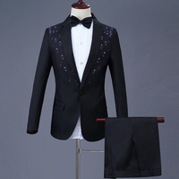 Blazer+Pants 2019 New Design Men's Chorus Costume Singer Host Suit Groom Groomsmen Suit 2 Pieces Male Sets Clothing 527