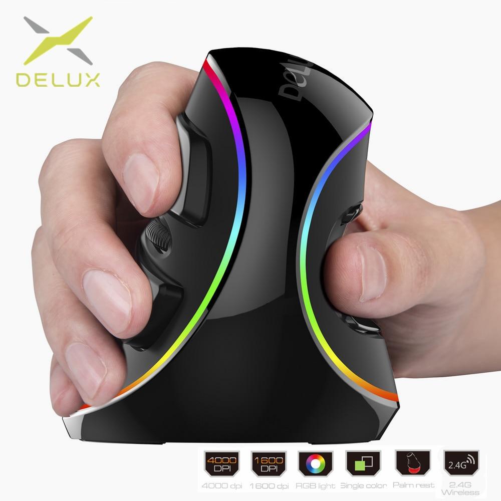 Delux M618 PIÙ Ergonomia Verticale Gaming Mouse Metallico 6 Bottoni 4000 dpi Ottico Senza Fili di RGB Mano Destra Mouse Per PC del computer portatile