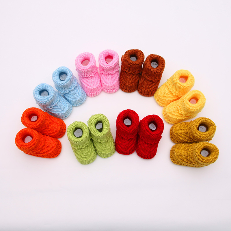 Newborn Baby Toddler Shoes 0-1 Year Old Baby Shoes Handmade Knitted Wool Shoe Hair Socks Embroidery Cartoon Bbaby First Walkers image
