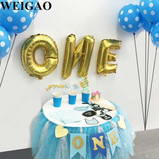 WEIGAO 1st Birthday ONE Foil Balloons Photo Banners Blue Pink Happy Party Decoration Kids Baby
