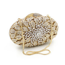 XIYUAN BRAND Crystal Rhinestones Women Evening Clutch Bag Bridal Wedding Clutches Party Dinner Prom Chain Shoulder Handbag Purse(China)