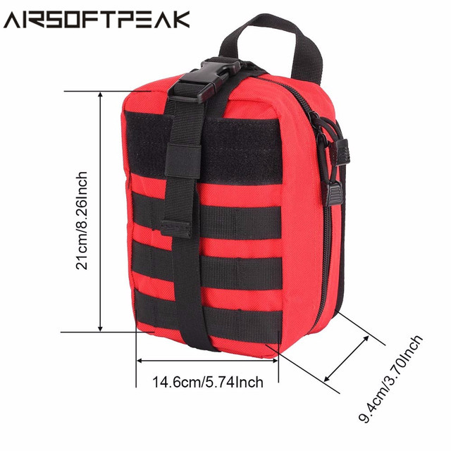 AIRSOFTPEAK Medical First Aid Pouch Tactical MOLLE Portable Outdoor Travel Camping Kit Survive Bag Cover Hunting Emergency Pack 6