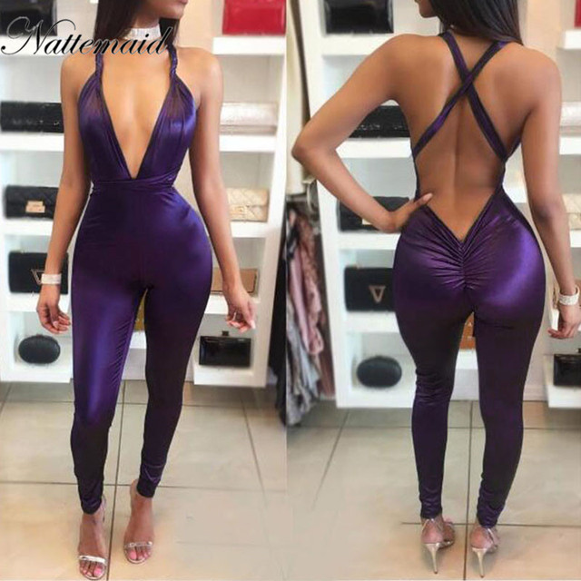 46d50e42bc7c NATTEMAID 2017 Women jumpsuit summer sexy red bodycon Rompers Deep v neck  bandage jumpsuits Long pants