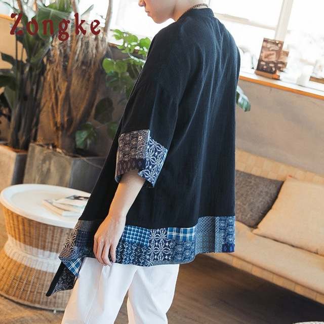 Zongke Chinese Kimono Cardigan Men Open Stitch Traditional Mens Kimono Cardigan Plus Size Long Kimono Jacket Men 2018 Summer 1