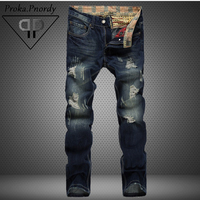 Proka Pnordy Brand Distressed Denim Jeans Men 2017 Fashion Destroy Hole Jeans Men's Straight Slim Moustache Effect Ripped Jeans