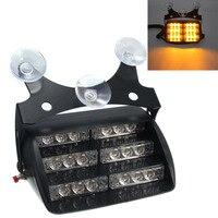 Amber Yellow 12V LED Car Warning Work Light Flashing Strobe Emergency Lamp 18 LEDs For Auto