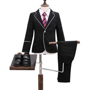 Image 5 - Marka kwiat chłopcy odzież zestaw dzieci elegancka suknia ślubna marynarka koszula spodnie krawat do garnituru dzieci Prom ceremonia kostium F009
