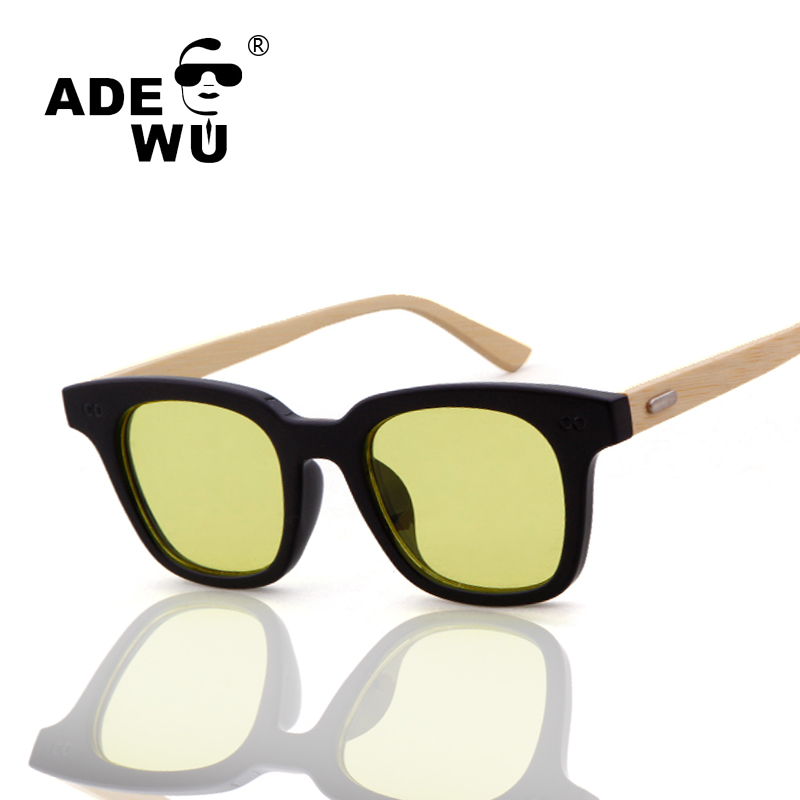 ADE WU Brand Designer Wood Night Vision Sunglasses Mens Women Clear Goggles Bamboo Sungl ...