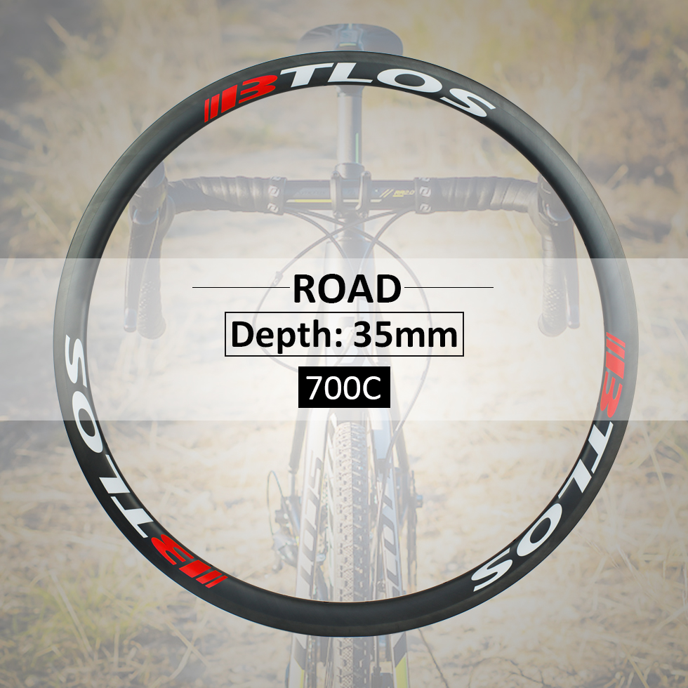 700C road bike 35mm deep clincher tubeless compatible carbon rims BTLOS RC 35