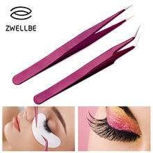 Пинцет для наращивания ресниц, пинцет для бровей, фиолетовый цвет, нержавеющая сталь, прямой изгиб, Изогнутый пинцет, профессиональные инструменты для макияжа