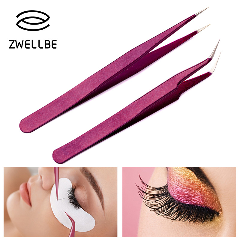 New Eyelash Extension Eyebrow Tweezers Purple Colored Stainless Steel Straight Bend Curved Tweezers Professional Makeup Tools-in Eyebrow Tweezers from Beauty & Health