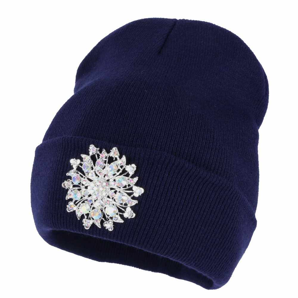 a58aeb554a60dc ... women fashion beanies bling luxury floral winter hat Girl casual  skullies white navy black crystal new ...