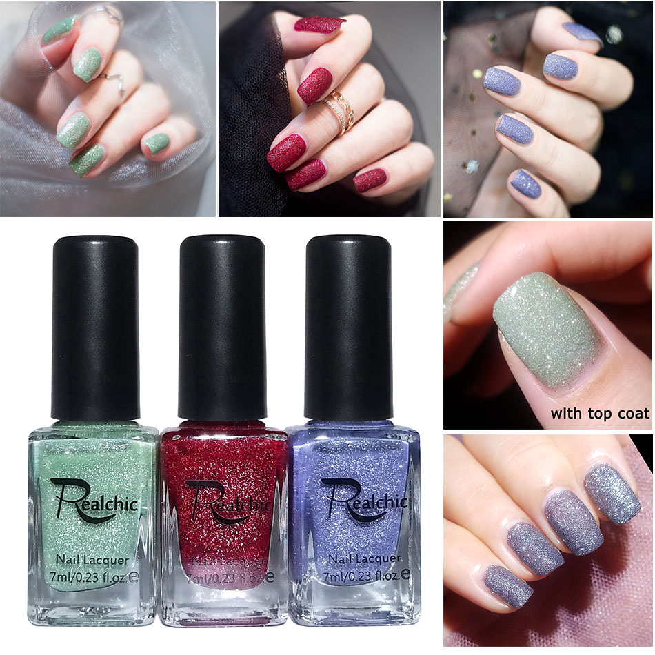 Selfless 2018 Newest Realchic Brand 7 Color Glitter Liquid Sand Texture Gel Nail Polish Matte Varnish Gel Nail Art Pixie Dust Nail Polish Firm In Structure Nails Art & Tools