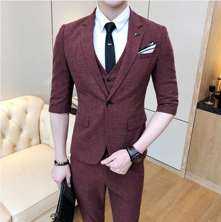 (Jacket+Vest+Pants)2019 Men's Wedding Dress Slim Fit Wool Suit Men Short Sleeve Wedding Suits Man Three Pieces Costume Homme