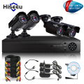 Hiseeu 4CH CCTV KIT System HD 1200TVL=720P IR Bullet Outdoor CCTV Surveillance Home AHD Camera Security System HDMI 1080N VGA