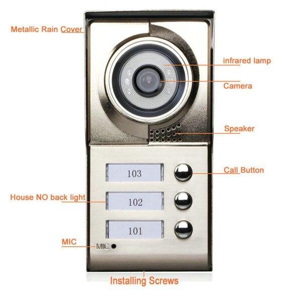 7 дюймов многоквартирных строительство видеодомофон