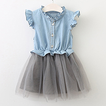 Menoea Children Clothing Suits 19 Autumn Fashion Style Girl Cowboy Long-Sleeve Mesh Dress Design For 3-8Y Kids Girls Sets 8