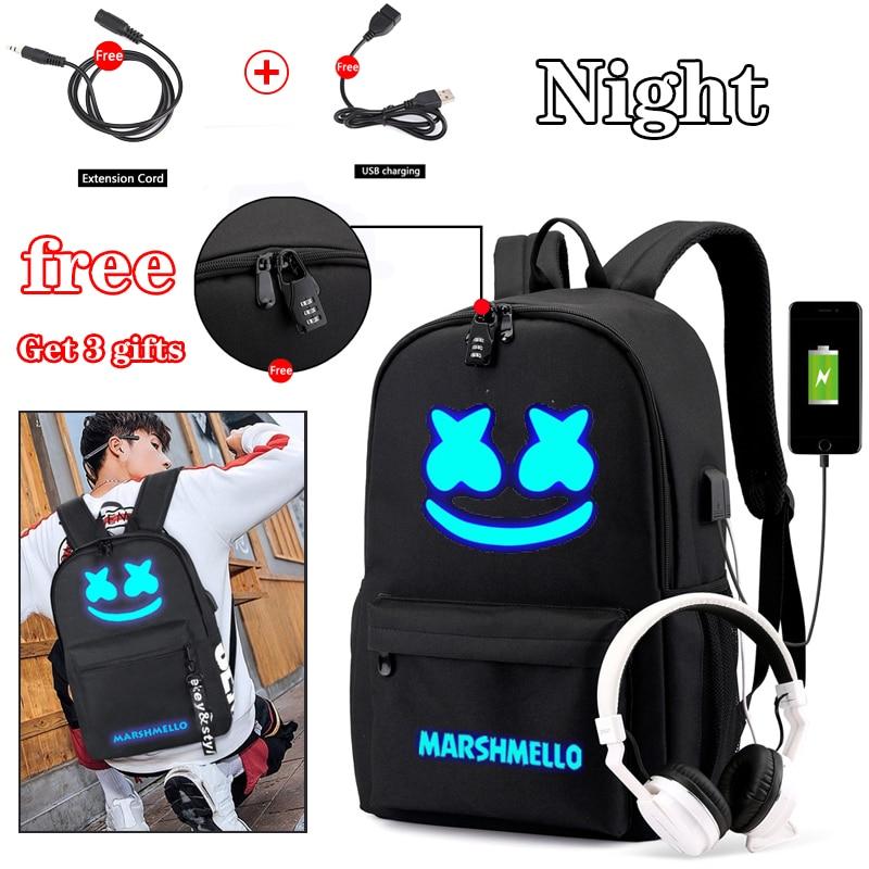 Bpzmd dj na moda anti-roubo usb men luminoso mochila para meninas meninos adolescentes crianças marshmello saco de escola feminino legal bookbag