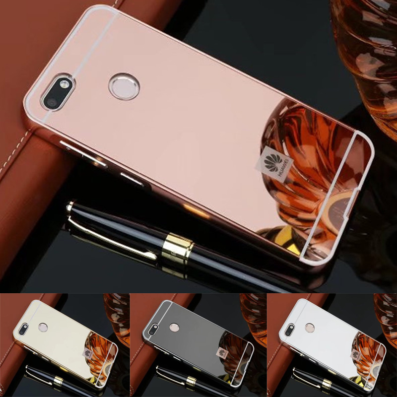 Luxury Mirror case For Huawei P9 lite Mini case Aluminum Frame + PC Armor Back Cover for Huawei Y6 Pro 2017 5.0 inch hard cases