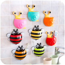 1Pc Snail/Bee Cartoon Sucker Toothbrush Holder Cute Suction Hook Toiletries Toothpaste Holder Tooth Brush Cup Tool Bathroom Sets