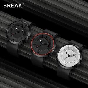 Image 5 - BREAK minimalista Reloj de marca de lujo para hombre y mujer, resistente al agua, de cuarzo, informal, militar, deportivo, negro