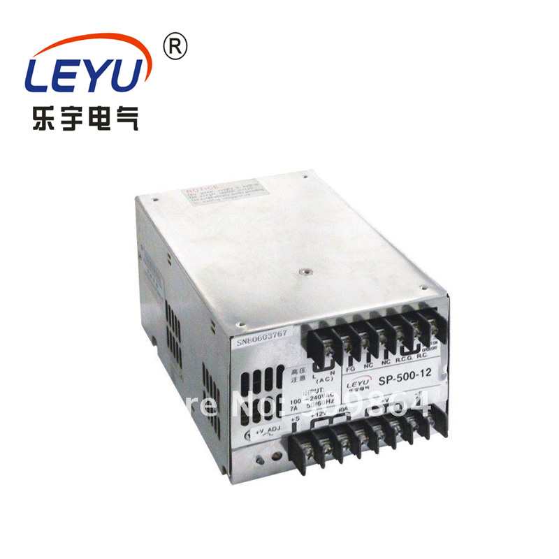 LEYU PFC Function Power Factor Correction 500w power SP-500 series Single Output 12v 24v 48v switching power supplyLEYU PFC Function Power Factor Correction 500w power SP-500 series Single Output 12v 24v 48v switching power supply