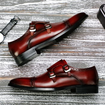 2018 New Three Joint Brock Men's Business Shoes England Large Size Genuine Leather Set Foot Dress Shoes