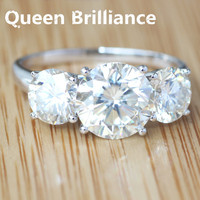 4 7 Carat Ct G H Super White Clear Moissanite Ring 3 Stone Wedding Band Anniversary
