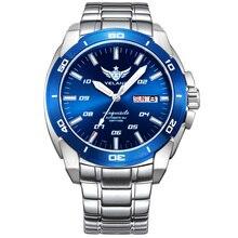 ييلانغ V1020 رجل الصلب مقاوم للماء 100 متر T100 التريتيوم مضيئة المزدوج التقويم الأعمال التلقائي الميكانيكية ساعة معصم