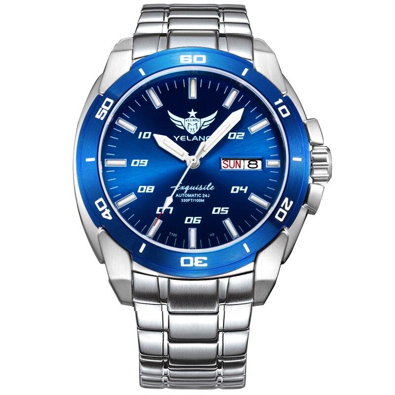 YELANG V1020 hommes en acier étanche 100 m T100 tritium lumineux double calendrier d'affaires automatique montre-bracelet mécanique