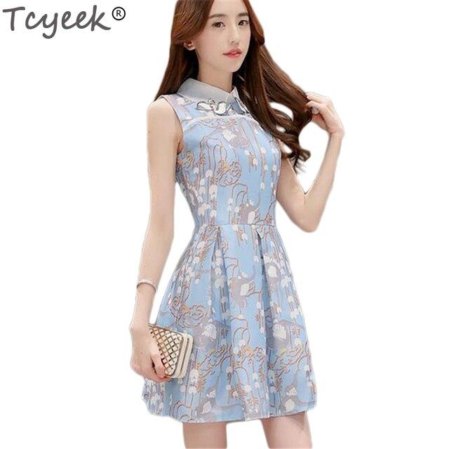 Tcyeek 2017 Estate Tennyo Principessa di Modo Del Vestito Elegante Ragazza Coreana Studente Blu ...