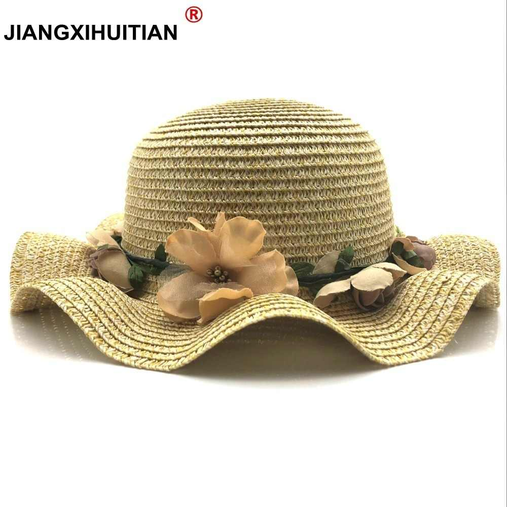 fedf1d09f21 2018 New Summer Kids Floral Straw Hats Fedora Hat Children Visor Beach Sun  Baby Girls Sunhat