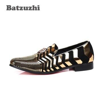 Batzuzhi, Zapatos De Lujo De Estilo Italiano, 100% A Estrenar Para Hombres, Puntiagudos, Ante Negro, Raya Dorada, Con Borla De Oro, Zapatos Casuales Para Hombres