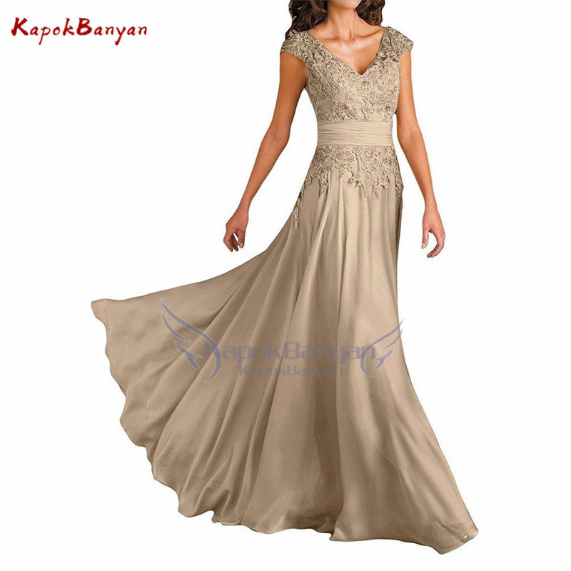 Applique Lace up Long Mother of The Bride Dress Cap Sleeves Lace up Backless Chiffon Floor