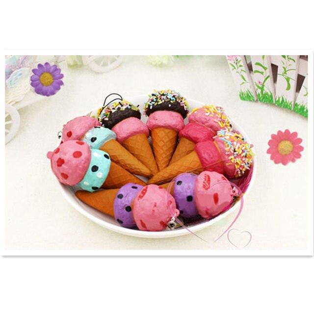 4 pçs/lote ice cream cone chaveiro, brinquedos de Alimentos artificiais falso simulado alimentos pão loja de home office decoração do partido do presente do favor