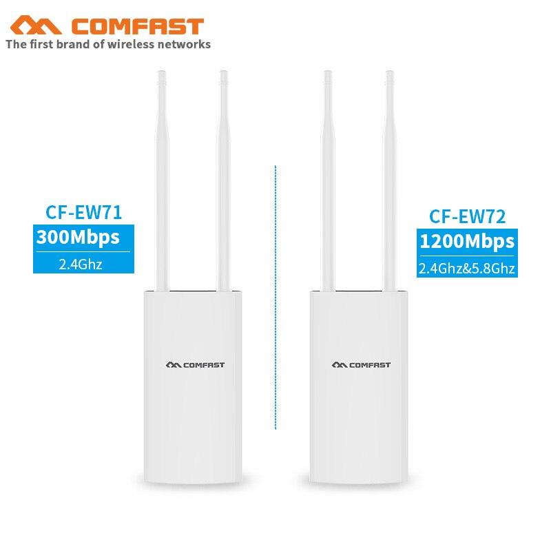 Comfast extérieur sans fil AP 2.4G & 5.8G 300M ~ 1200 Mbps 48 V PoE wifi routeur signal booster base station avec deux antennes pour parc