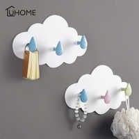 1pc Cloud Shape Three Wall-mounted Hooks DIY Plastic Hanger Adhesive Hooks Hanging Clothes Towel Holder Racks Wall Decoration
