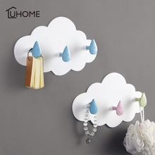 1pc Cloud Shape Three Wall-mounted Hooks DIY Plastic Hanger Adhesive Hooks Hanging Clothes Towel Holder Racks Wall Decoration