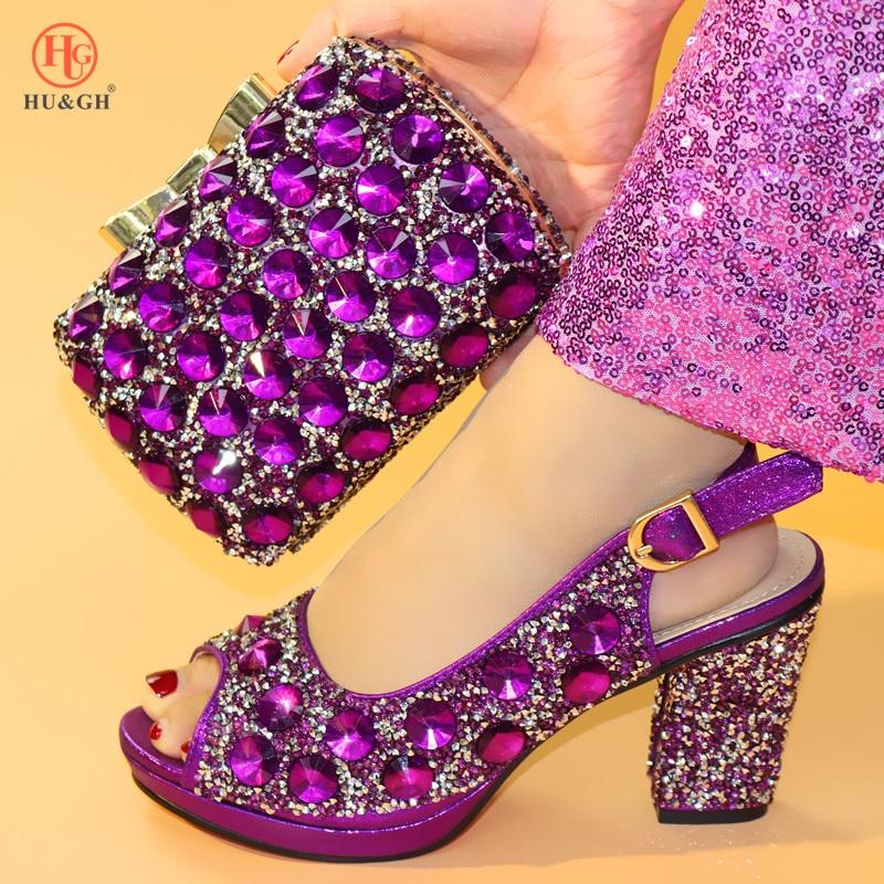 Nieuwe Zilveren Kleur Mode Italiaanse Schoenen Met Bijpassende Clutch Bag Hot Afrikaanse Grote Bruiloft Met Hoge Hak Sandalen en Tas set Party - 5