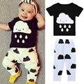 2016 Moda bebê roupas roupas de bebê menino Camisa Curto do T & Calças compridas 2 pcs bebe bebê recém-nascido menino conjunto de roupas DS26