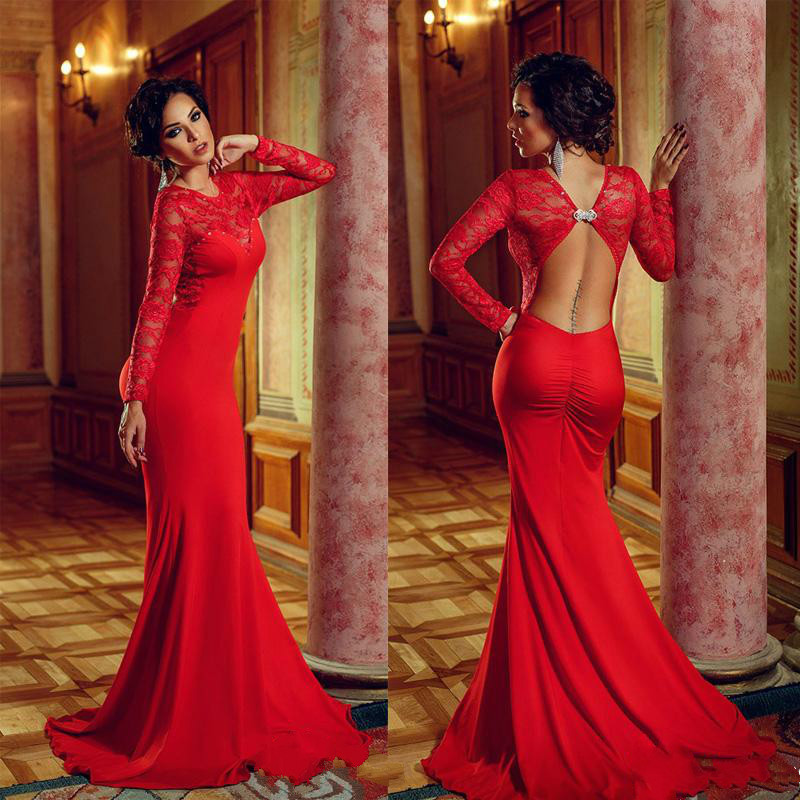Online Get Cheap Scoop Neckline Long Sleeve Mermaid Prom Dress ...