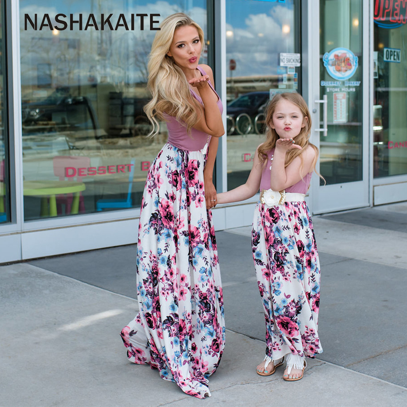 d8cb633df0 Mother daughter dresses Floral Long Dress mae e filha Mother and daughter  clothes Mom and daughter dress Family Matching Clothes-in Matching Family  Outfits ...
